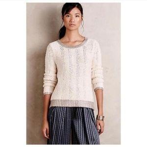 Anthropologie Moth Metallic Loose-Knit Sweater